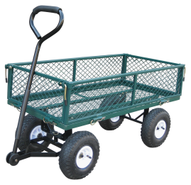 Yellow Garden Cart Powder coated steel. 10-In. all terrain tires. Easy to maneuver. Drop down side that will convert to utility cart. yellow only. (8952004) product image.