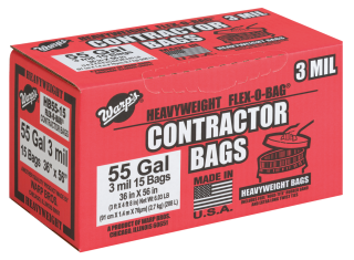 15-Ct. 55-Gal. Contractor Trash Bags product image.