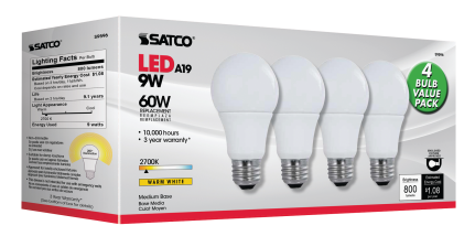 Multi-Directional A19 LED Bulbs 4-bulb value pack. Direct replacement for 60 Watt. (7059074) (S9596) product image.