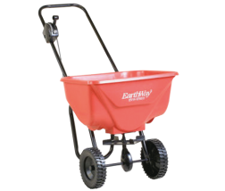 Broadcast Spreader Steel powder coated frame. 8-10-In. spread width. 8-In. Plastic wheels. 65-Lb. capacity. (2631356) (2030) product image.