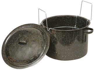 11.3-Qt. Canner With Lid Cooks faster, cleans easier, covered boiler includes canning rack, holds ( 7) 1-Pt. jars. (0706-6) product image.