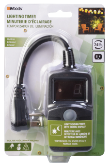 Outdoor Digital Timer With Photoelectric Eye Controls landscape lights, holiday lighting and more. Auto on/off at dusk and dawn or programmable auto on at dusk and off 1 to 9 hours later. Settings repeat daily. 6-In. 18/3 SJTW power cord. (5915608) (50013) product image.