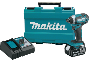 18V LXT® Lithium-Ion Cordless Impact Driver Kit Convenient one-touch 1/4-In. hex chuck for quick bit changes. Dual L.E.D. lights with afterglow. Includes - 18V Lithium-Ion batteries, rapid charger, tool case. (XDT111) product image.