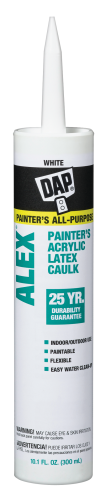10.1-Oz. ALEX® Painters Caulk All purpose acrylic latex painter's caulk. Applies smoothly and easily. Adheres to wood, plaster, drywall and masonry. (6155592) (18670) product image.