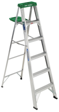 6-Ft. Aluminum Stepladder Type III 200-lb. rated load. Shelf with tool holder. (6242937) (356) product image.