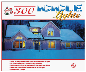 300-Ct. Clear Icicle Light Set Indoor/Outdoor use. White wire. (3740362)CLEAR (3742160) MULTI-COLOR product image.