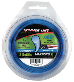 .065-In. x 50-Ft. Trimmer Line Blue color, round shaped line made from sturdy nylon components. Made in the USA. (4239737) (333065) .080-In. x 50-Ft. Trimmer Line. (4239745)(333080) 1.49 .095-In. x 40-Ft. Trimmer Line. (4239711)(333095) 1.69 .105-In. x 30-Ft. Trimmer Line. (4239729)(333005) 1.99 product image.